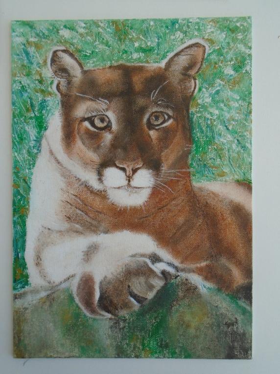 Lion -oil on canvas board