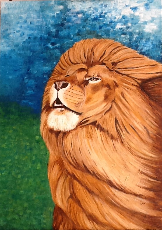 Lion 50 x 70cm oil and cold wax