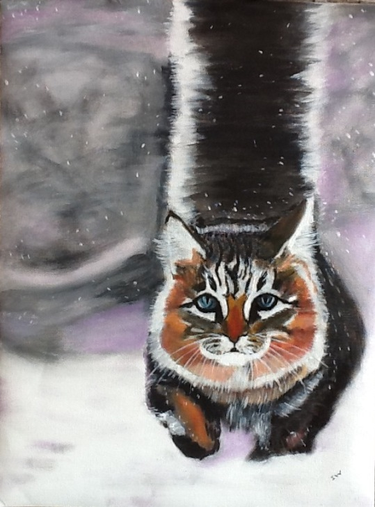 Snow cat on loose canvas